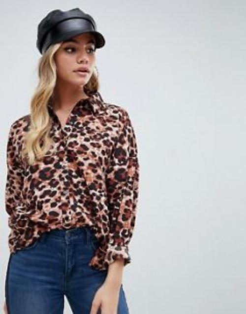 Boohoo - Chemise manches longues à imprimé léopard
