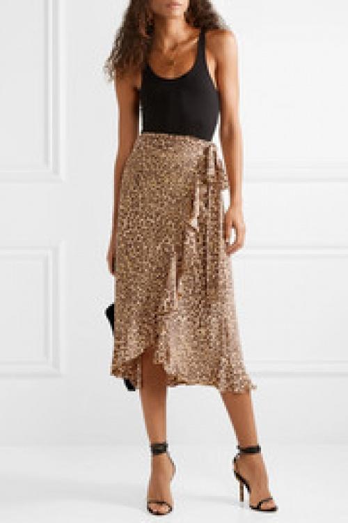 Faithfull The Brand - Jupe portefeuille en crêpe à imprimé léopard