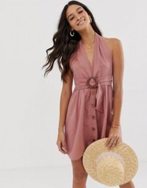 ASOS DESIGN - Robe d'été en lin dos nu