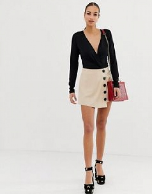 Missguided - Jupe-culotte à boutons contrastants