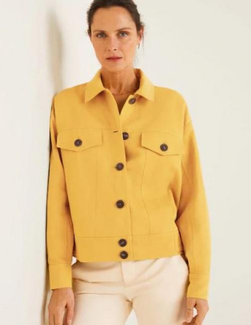 Mango - Veste en lin à boutons