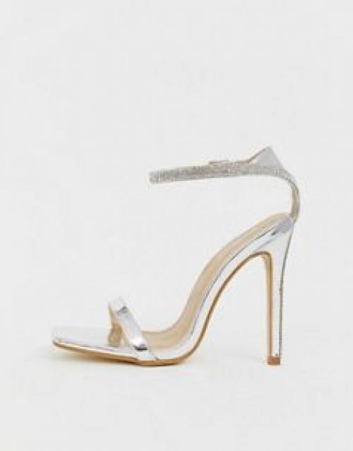 Be Mine - Lylie - Sandales de mariée minimalistes à bride ornée de strass
