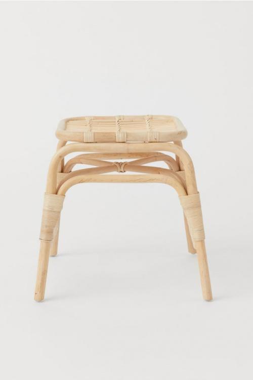 H&M Home - Tabouret en bois avec rotin