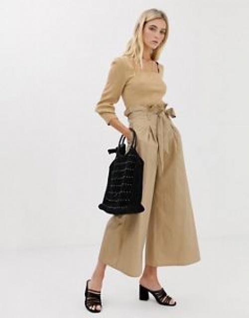 Glamorous - Pantalon large à taille haute froncée