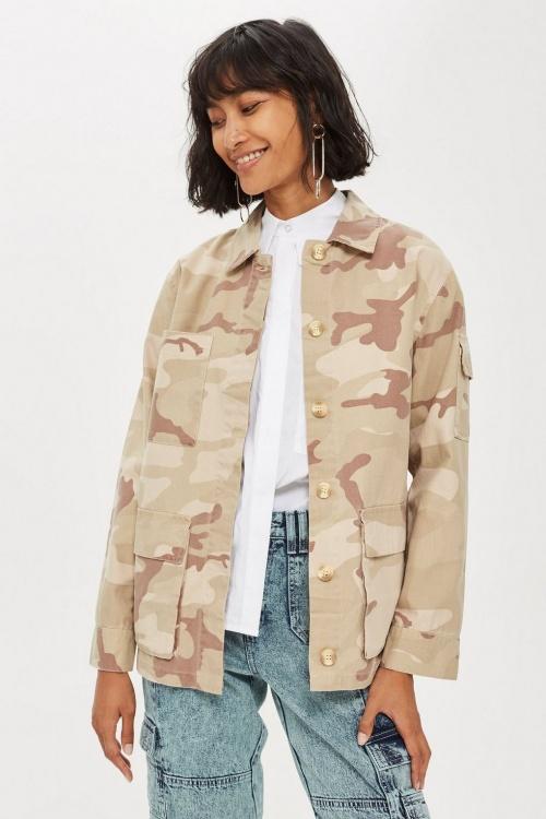 Topshop - Veste-chemise beige à motif camouflage