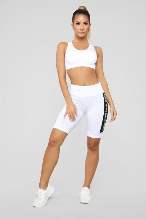 FashionNova - Savage Active Biker Short - White