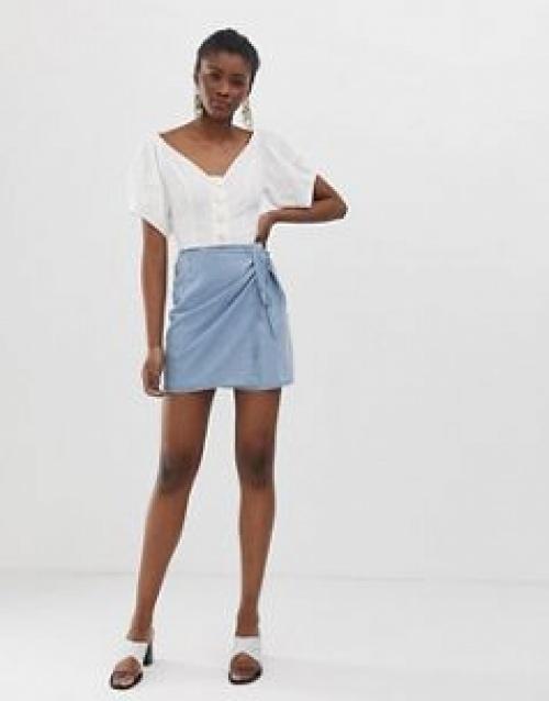 ASOS DESIGN - Mini-jupe portefeuille douce