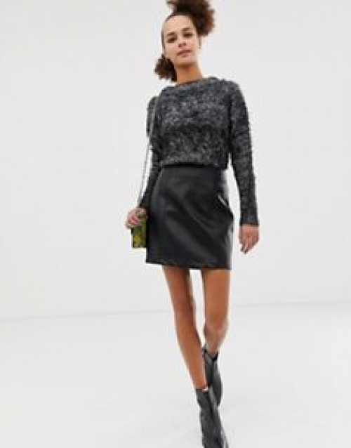 New Look - Mini-jupe en imitation cuir