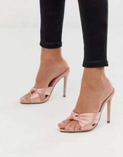 Missguided - Mules en satin à bout pointu et nœud