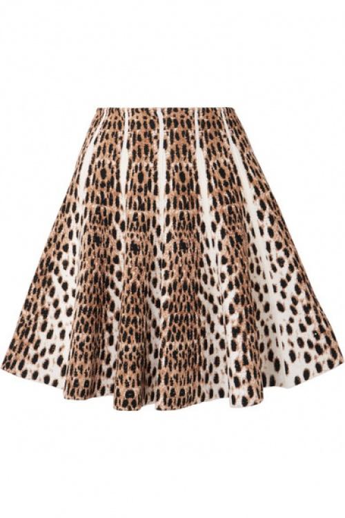 Alaïa - Mini-jupe en mailles jacquard