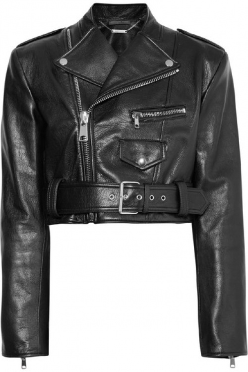 Alexander McQueen - Perfecto raccourci en cuir texturé