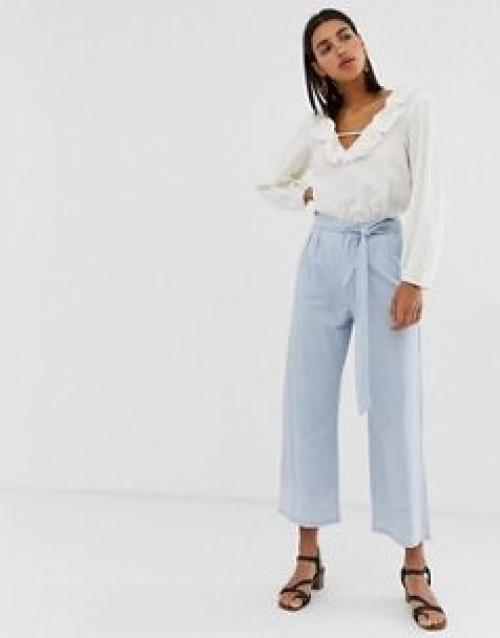 Vero Moda - Pantalon large en chambray à rayures