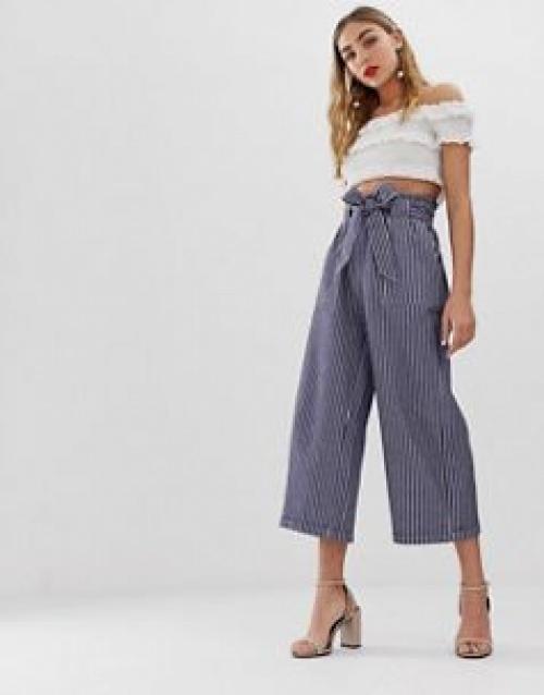 Only - Pantalon rayé en chambray à taille nouée
