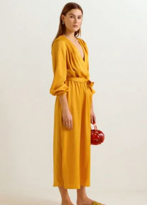 Mango - Robe longue satinée