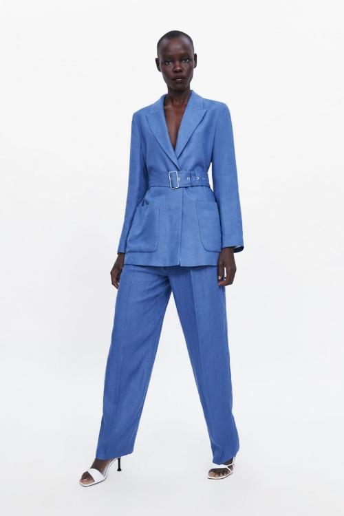 Zara - Pantalon en lin à pinces