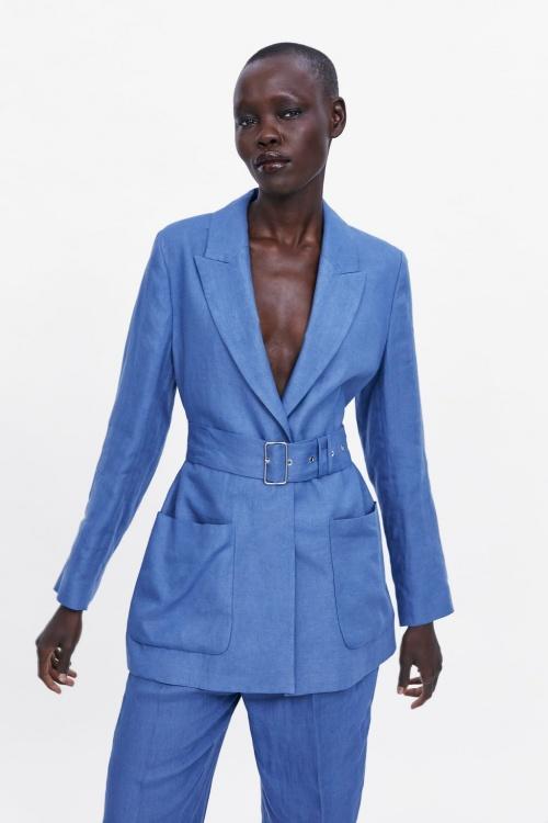 Zara - Veste en lin avec ceinture