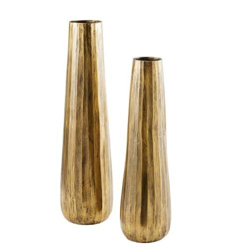 Maisons du Monde - 2 vases en métal bronze