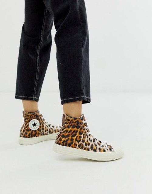 Baskets montantes à imprimé léopard