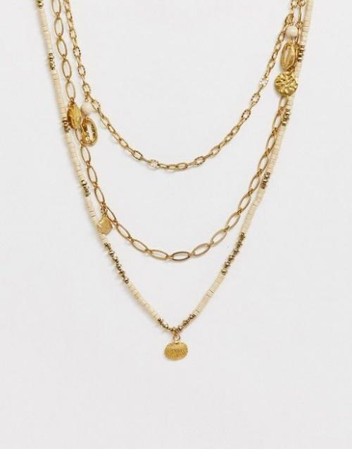 Collier multirang à coquillages métal pendentifs martelés et perles bois