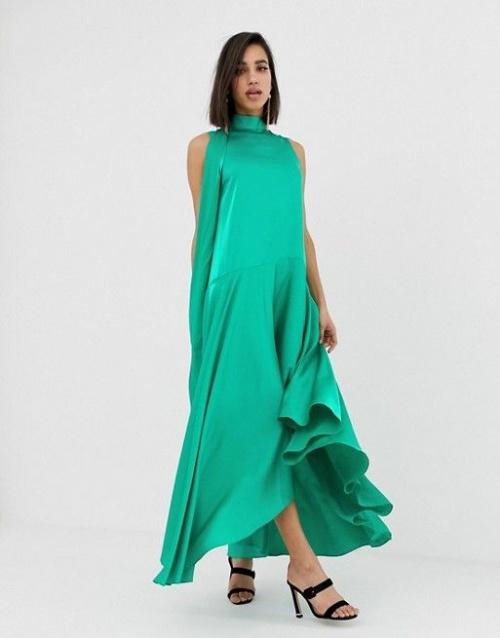 Asos Design - Robe mi-longue sans manches en satin