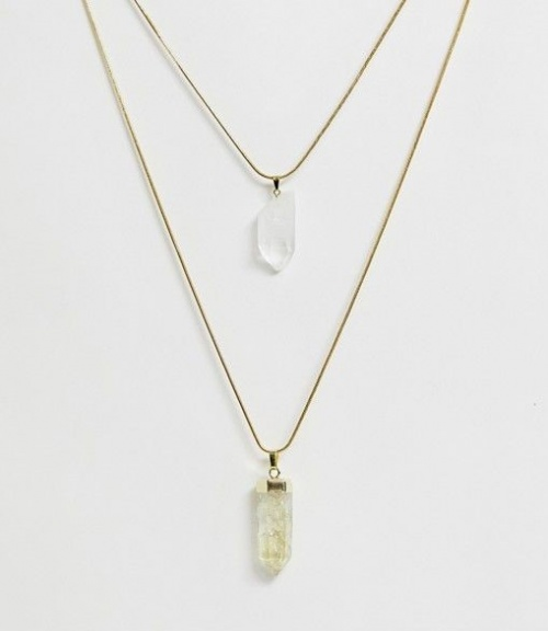 Aura Crystals by Calum Best - Collier avec pendentifs citrine et quartz transparent