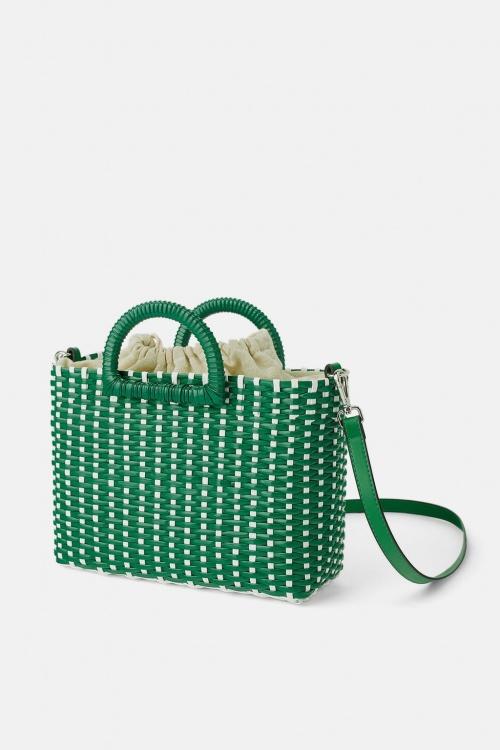 Zara - Sac shopper tressé bicolore