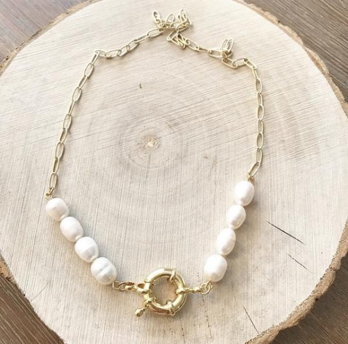 AB Paris - Collier maillon et perles