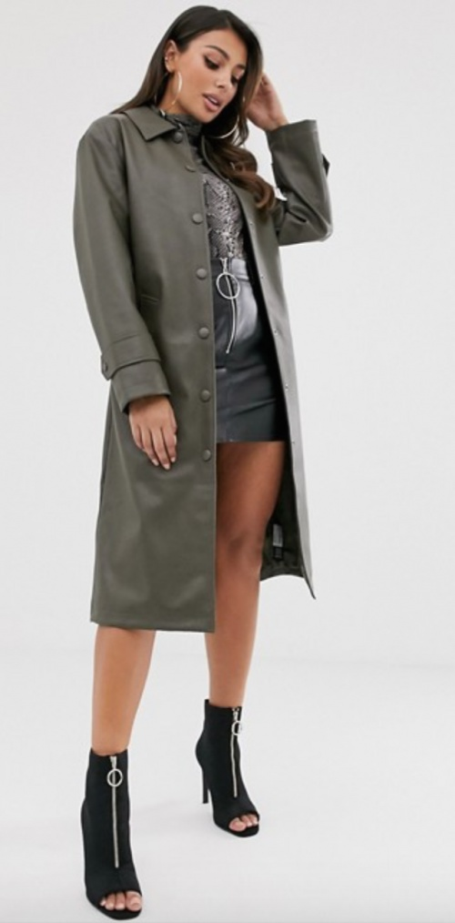 Asos Design - Trench simili cuir kaki
