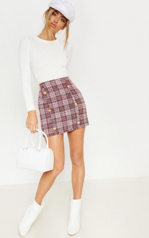 PrettyLittleThing - Mini jupe en tweed