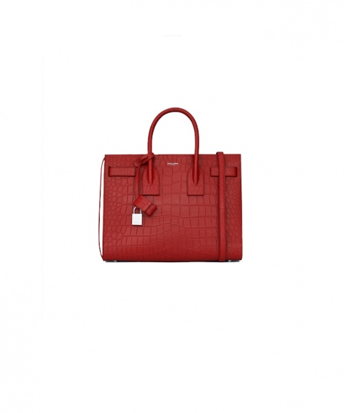 Yves SainYves Saint Laurent - Sac de jour crocodile rouge