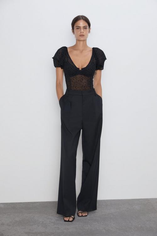 Zara - Body semi-transparent à pois