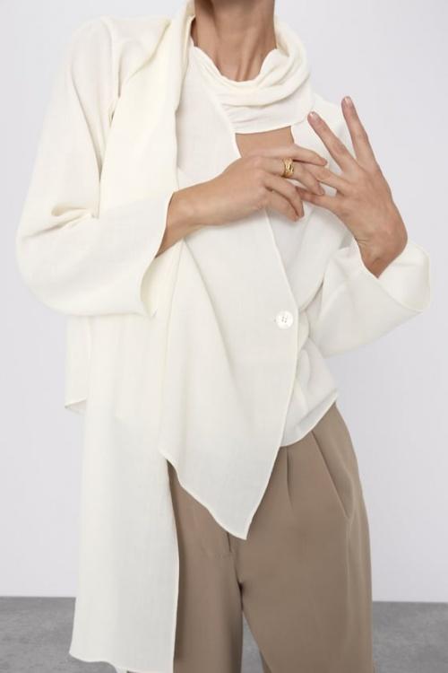 Zara - Blouse à col écharpe