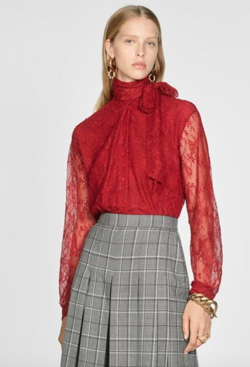 Zara - Chemise en dentelle à noeud