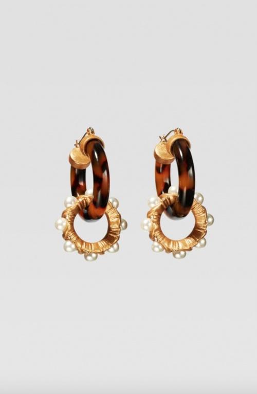 Zara - Boucles d'oreilles effet écailles avec perles