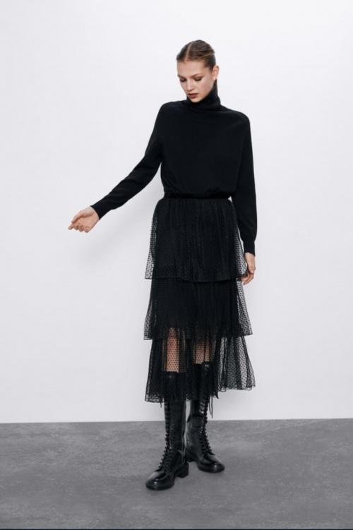 Zara - Jupe longue plissée en tulle