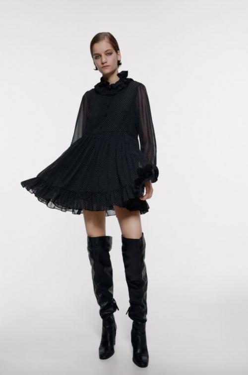 Zara - Robe courte à pois