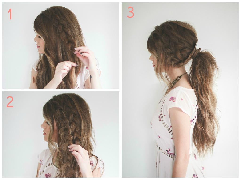 Tuto coiffure queue de cheval tresse for Coupe cheveux boheme