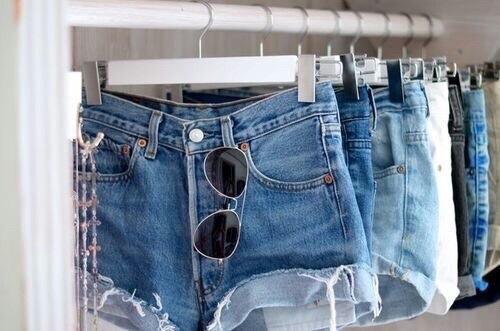 short en jean ceintre