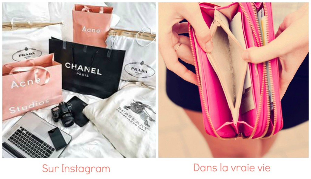 différence shopping instagram et vraie vie