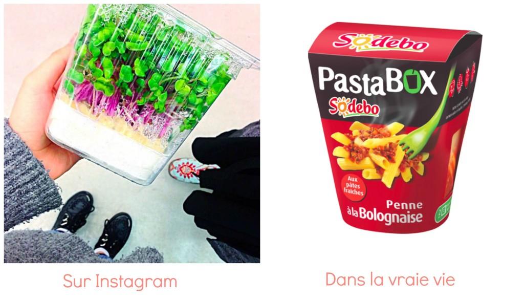instagram vs réalité lunch box