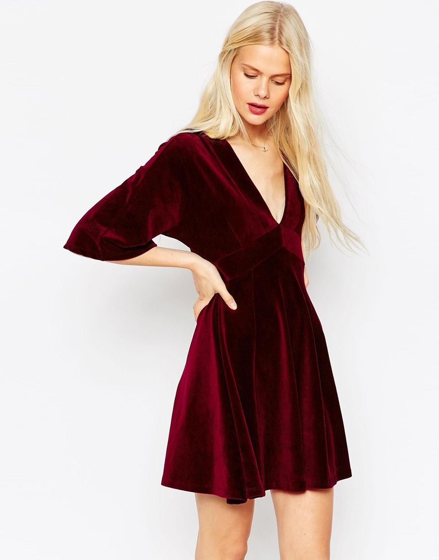 Robe de soiree velour rouge
