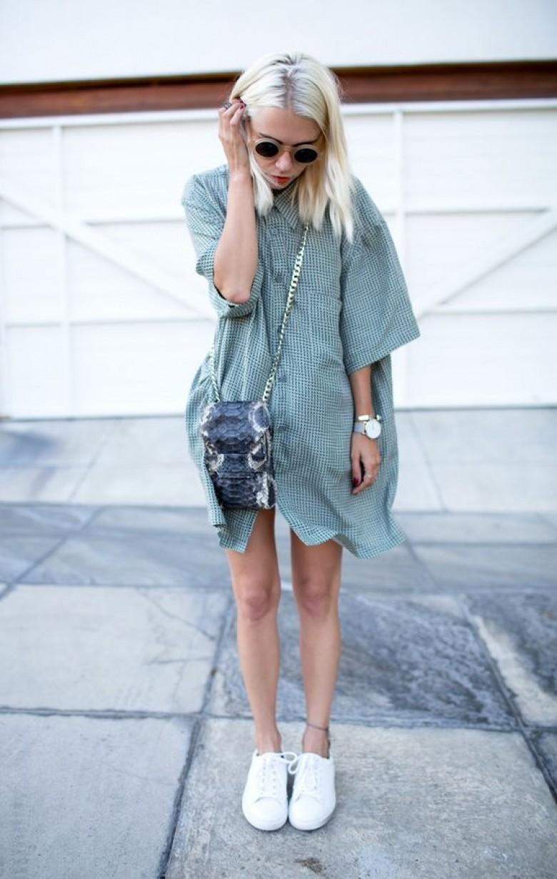 bazaar_Robe Chemise + Baskets : le look idéal