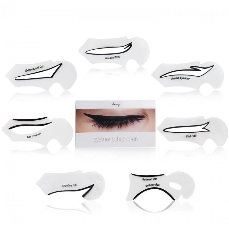 Lot de 7 pochoirs pour eyeliner - Amazy