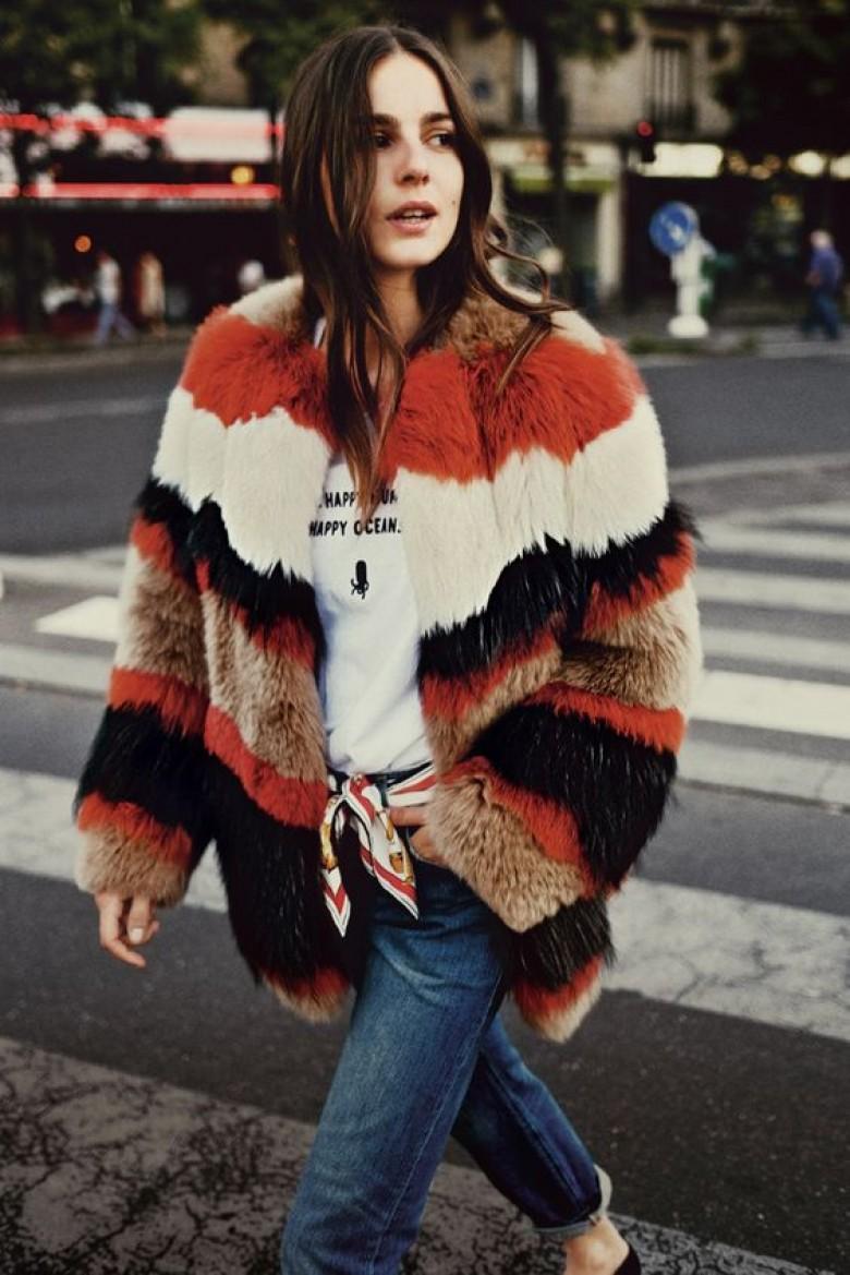 manteau en vrai fourrure poils courts