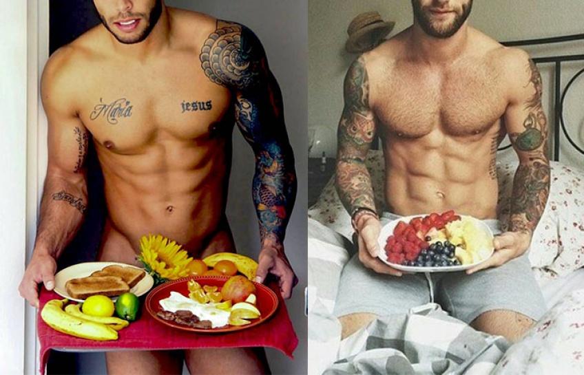 #Hotdudes petit dej au lit : on en mangerait !