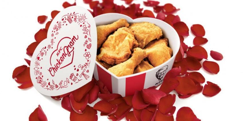 Des fleurs c'est bien, une boite en coeur remplie de pilons de poulet KFC c'est mieux