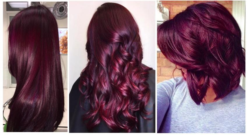 Coloration aubergine sur cheveux brun