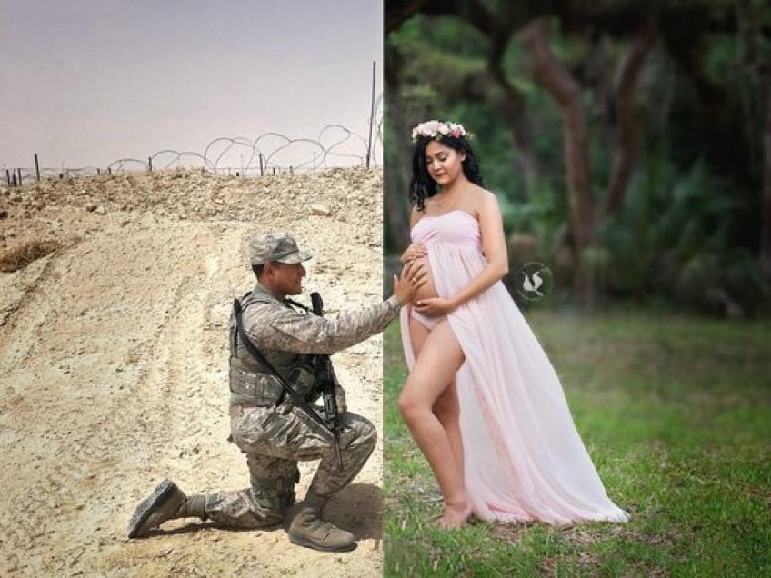 Ce militaire participe aux sublimes photos de grossesse de sa femme à distance !