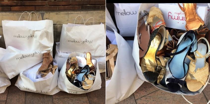 Des chaussures neuves jetées et volontairement abîmées