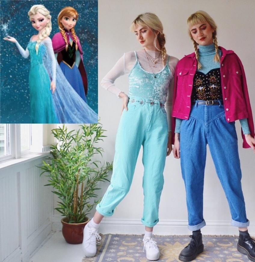 deux soeurs tenues personnages dessins animés